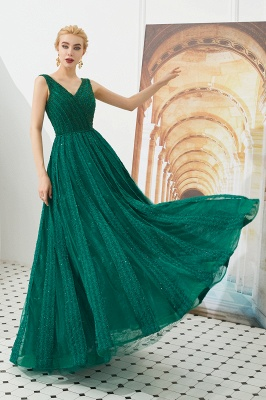 Harriet | Shining Emerald green Sexy V-neck Princess Low back Prom Dress with Pleats_8