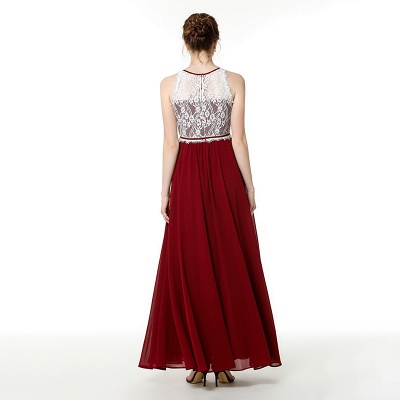 Trendy two-toned High neck Burgundy Formal Dress with soft pleats | High neck white lace Evening Dress_7