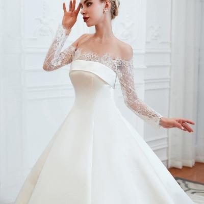 Romántico de encaje de manga larga princesa vestido de novia de satén | Vestidos de novia princesa con tren catedral_18