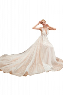 Illsuion neck Champange Wedding Dress with Chapel Train | Sleeveless Summer Bridal Gowns Online_1