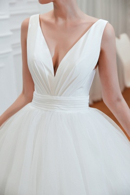 Sexy V-neck sleeveless White Princess Spring Wedding Dress | Elegant Low Back Bridal Gowns with Belt_5