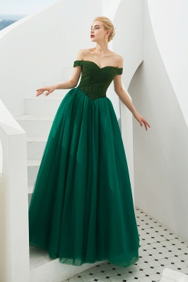 Harry | Elegant Emerald green Off-the-shoulder Ball Gown Dress for Prom/Evening_7