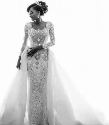 Mermaid Wedding Dresses with Trendy Overskirt | Beads Lace Appliques Long Sleeve Bridal Gowns_4