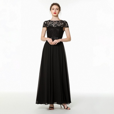 Coccecline | Black Lace Cap Sleeves Lace Bridesmaid Dress with Ribbon_1