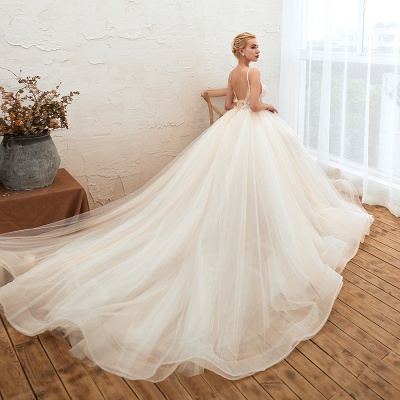 Boho Spaghetti Straps Ivory Ball Gown Wedding Dress | Romantic Bridal Gowns for Sale_10