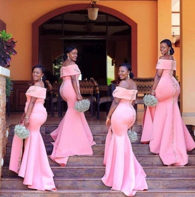 Mermaid Floor Length Off The Shoulder Bridesmaid Dresses With Appliques| Blushing Pink Split Dresses For Maid of Honor_4