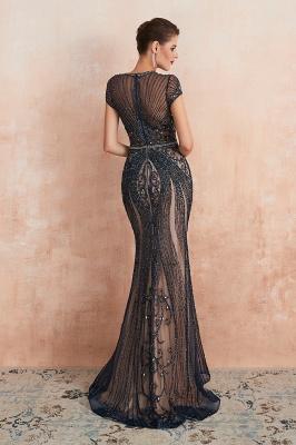 Chloé | Robe de bal en mousseline de soie bleu marine foncé de luxe avec trou clé et manches étincelantes en ligne, belles robes de soirée pour soirée_20