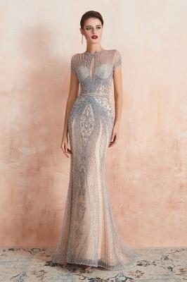 Chloé | Robe de bal en mousseline de soie bleu marine foncé de luxe avec trou clé et manches étincelantes en ligne, belles robes de soirée pour soirée_5