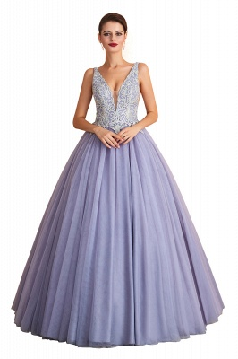 Cerelia | Elegant Princess V-neck Ball gown Lavender Prom Dress with Appliques, Deep V-neck Evening Gowns with Pleats_1