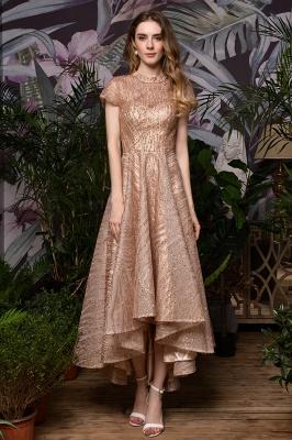 Ardolf | High neck Short Sleeve Champange Sequined High Low Prom Dress_2