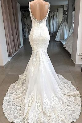 Élégante bretelles spaghetti col en v blanc sans manches sirène robe de mariée dos ouvert avec train chapelle_3