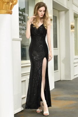 Ardell | Sexy Black Emerald Sequined High Slit Prom Dress Online_13