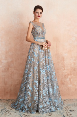 Celandine | Expensive Cap Sleeve See-through Prom Dress with Sky Blue Appliques, Unique Luxury Design Long Evening Dress Online_8