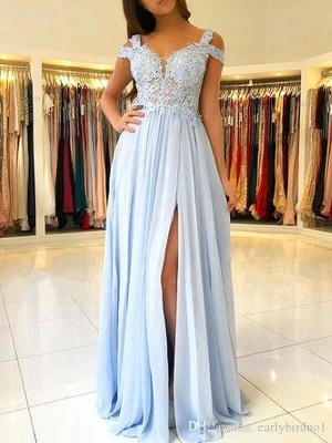Elegant Off-the-shoulder Low Back Prom dresses with Sexy High Split | Ligh Sky blue Evening Gowns with Lace appliques_1