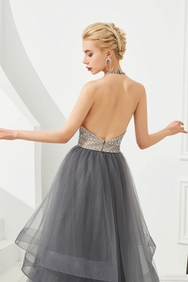 Floral Halter Evening Dress with Sparkle Beads | Trendy Gray Mother of the bride Dress with watermelon and blue decorations_9