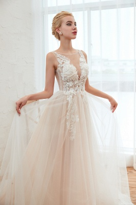 Illsuion neck Champange Wedding Dress with Chapel Train | Sleeveless Summer Bridal Gowns Online_18