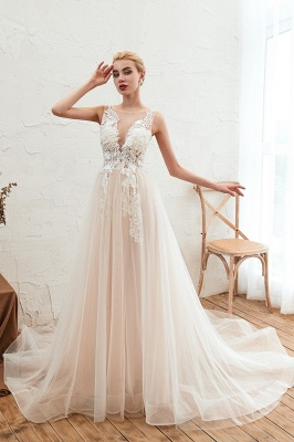 Illsuion neck Champange Wedding Dress with Chapel Train | Sleeveless Summer Bridal Gowns Online_8
