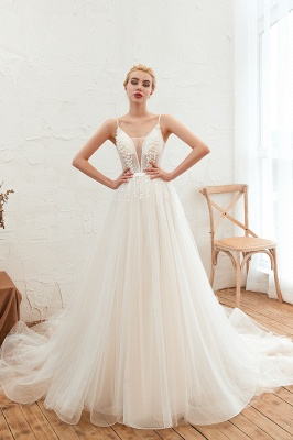 Summer Spaghetti Straps Plunging V-neck Champange Wedding Dress | Sexy Low Back Bridal Gowns Online_9