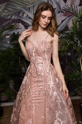 Ardolph | Gorgeous Dusty Pink Spaghetti Strap A-line Lace Prom Dress_6