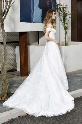 Elegant White Lace Off Shoulder Long Princess Wedding Dress with Beaded Lace Appliques_7