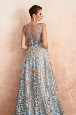 Celandine | Expensive Cap Sleeve See-through Prom Dress with Sky Blue Appliques, Unique Luxury Design Long Evening Dress Online_9