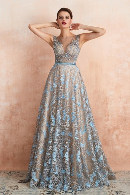 Celandine | Expensive Cap Sleeve See-through Prom Dress with Sky Blue Appliques, Unique Luxury Design Long Evening Dress Online_7