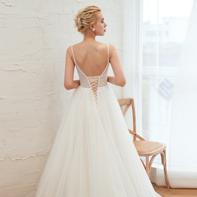 Summer Spaghetti Straps Plunging V-neck Champange Wedding Dress | Sexy Low Back Bridal Gowns Online_16