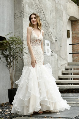 Sexy See-through Lace Mermaid Lace Sleeveless Ivory Wedding Dress with Ruffle Train_6