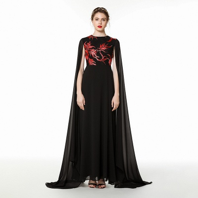 Elegant Black Long Evening Dress with Shawl | Round neck Modest Bridesmaid Dress_7