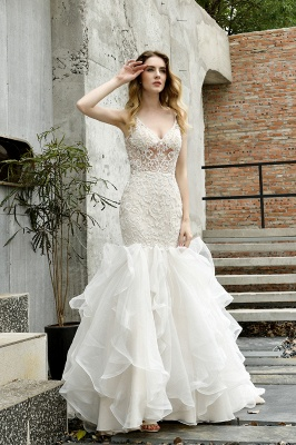 Sexy See-through Lace Mermaid Lace Sleeveless Ivory Wedding Dress with Ruffle Train_10