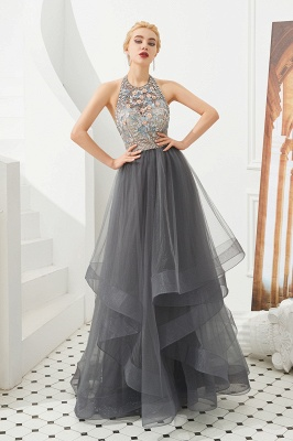 Floral Halter Evening Dress with Sparkle Beads | Trendy Gray Mother of the bride Dress with watermelon and blue decorations_2