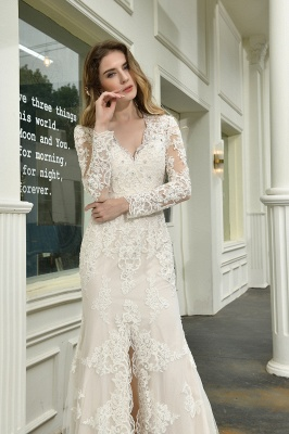 Delicate V-Neck High Split Long Sleeves Lace Wedding Dress With Court Train_11