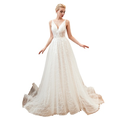 Harlan | Chic Deep V-neck White Tulle Princess Open back Wedding Dress with Court Train_19
