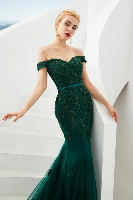 Harvey | Günstige Emerald Green Mermaid Tüll Prom Kleid mit Perlen Spitze Appliques_5