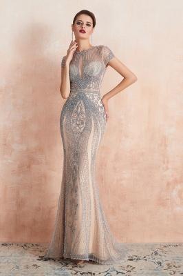 Chloé | Robe de bal en mousseline de soie bleu marine foncé de luxe avec trou clé et manches étincelantes en ligne, belles robes de soirée pour soirée_7