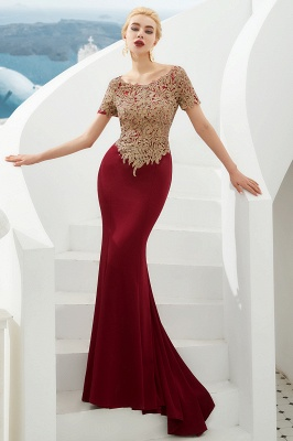 Hilary | Custom Made Short sleeves Burgundy Mermaid Prom Dress with Gold Lace Appliques_6