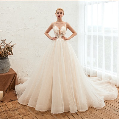 Boho Spaghetti Straps Ivory Ball Gown Wedding Dress | Romantic Bridal Gowns for Sale_7