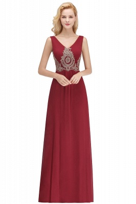 Charming V-Neck Gold Appliques aline Evening Maxi Gown Sleeveless Chiffon Prom Party Dress_1