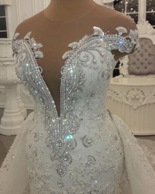 Glamorous Crystal Lace Off The Shoulder V Neck Beading Bride Dresses with Detachable Overskirt | Cheap Sleeveless Open Back Wedding Gowns_4