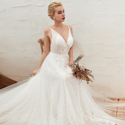 Harlan | Chic Deep V-neck White Tulle Princess Open back Wedding Dress with Court Train_12