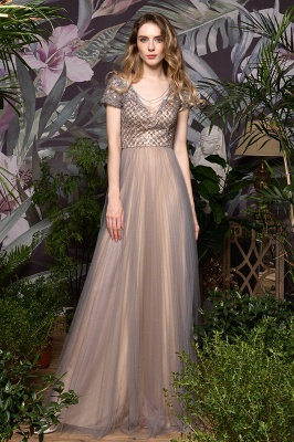Aria | Stunning Short Sleeves Squared Sequined Tulle Luxury Prom Dress_9