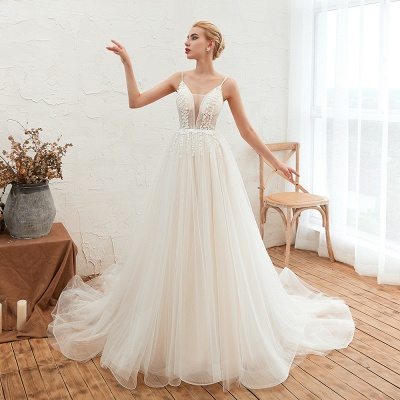 Summer Spaghetti Straps Plunging V-neck Champange Wedding Dress | Sexy Low Back Bridal Gowns Online_6