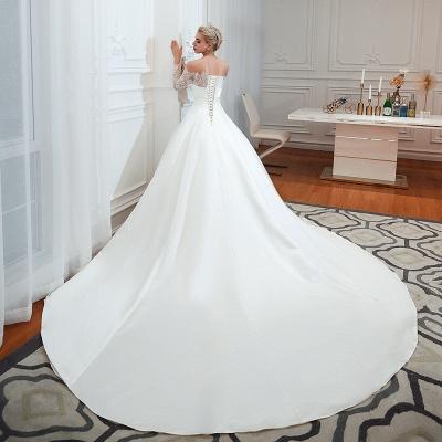 Romántico de encaje de manga larga princesa vestido de novia de satén | Vestidos de novia princesa con tren catedral_19