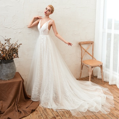 Harlan | Chic Deep V-neck White Tulle Princess Open back Wedding Dress with Court Train_6
