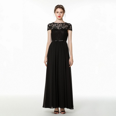 Coccecline | Black Lace Cap Sleeves Lace Bridesmaid Dress with Ribbon_7