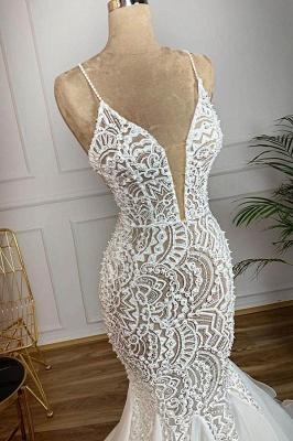 Роскошный спагетти ремень с V-образным вырезом без рукавов Русалка свадебное платье без рукавов_3