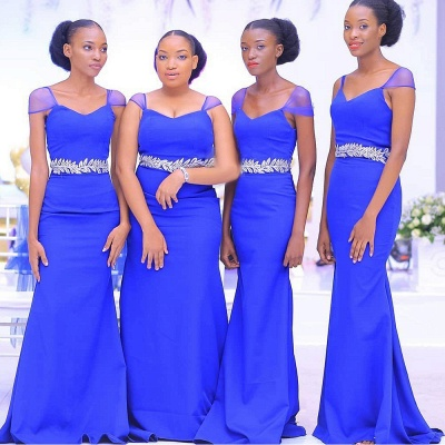 Sweetheart Neckline Cap Sleeves Floor Length Bridesmaid Dress With A Belt Of Leaves Pattern | Royal Blue Wedding Party Prom Dresses_3