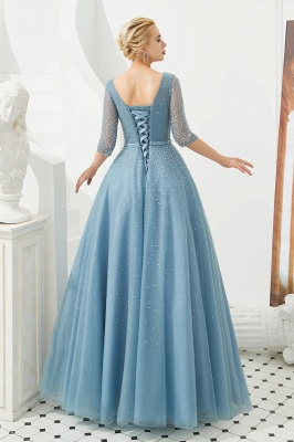 Harold | Discount V-neck Fully beaded 2/3 sleeves A-line Tulle Long Prom Dress_8