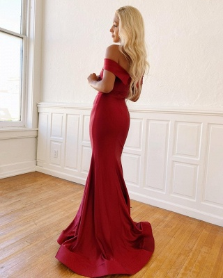 Rachel | Simple Off-the-shoulder Burgundy Mermaid Prom Dress, Fromal Evening Gowns_2