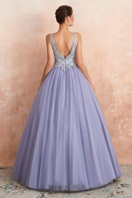 Cerelia | Elegant Princess V-neck Ball gown Lavender Prom Dress with Appliques, Deep V-neck Evening Gowns with Pleats_6